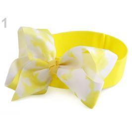 Detská elastická čelenka do vlasov s mašľou žltá   36ks Stoklasa