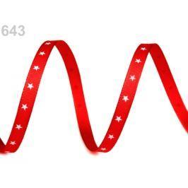 Vianočná stuha hviezdičky šírka 6 mm červená 10m