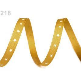 Vianočná stuha hviezdičky šírka 6 mm zlatá 50m