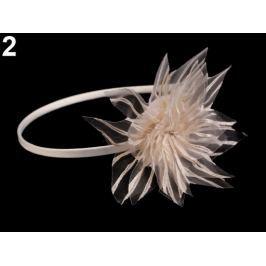 Saténová čelenka do vlasov s kvetom béžová sv. 1ks Stoklasa