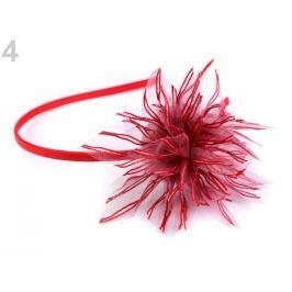 Saténová čelenka do vlasov s kvetom červená 1ks Stoklasa