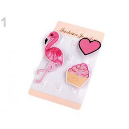 Textilná brošňa cupcake, srdce, plameniak ružová str. 3kar. Stoklasa