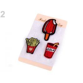 Textilná brošňa cupcake, srdce, plameniak červená 3kar. Stoklasa