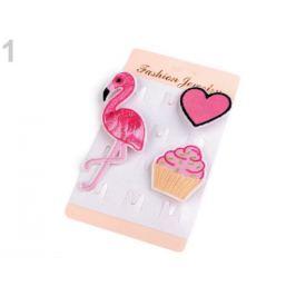 Textilná brošňa cupcake, srdce, plameniak ružová str. 12kar. Stoklasa