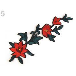 Nažehlovačka na rifle kvety / ruže červená rumelka 10ks Stoklasa