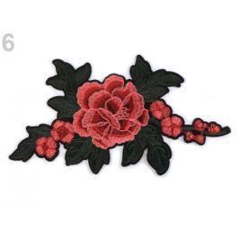 Nažehlovačka na rifle kvety / ruže červená sv. 50ks Stoklasa