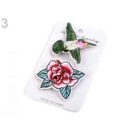 Textilná brošňa ruža, vtáčik, Love zelená irská 3kar. Stoklasa