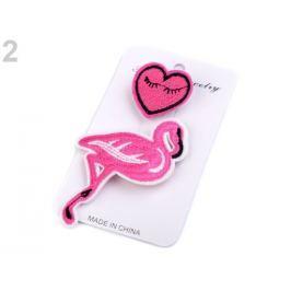 Textilná brošňa ruža, vtáčik, Love ružová 3kar. Stoklasa