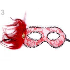 Karnevalová maska - škraboška čipka s perím červená 1ks Stoklasa