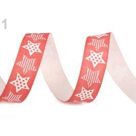 Vianočná bavlnená stuha hviezdy šírka 15 mm červená sv. 22.5m Stoklasa
