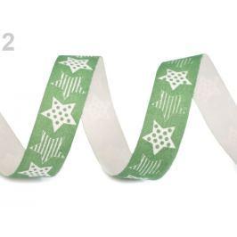 Vianočná bavlnená stuha hviezdy šírka 15 mm zelené papradie 112.5m Stoklasa