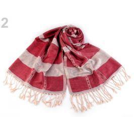 Šál typu pashmina so strapcami 70x180 cm červená 1ks Stoklasa