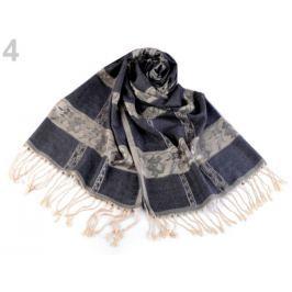 Šál typu pashmina so strapcami 70x180 cm modrá tmavá 10ks Stoklasa