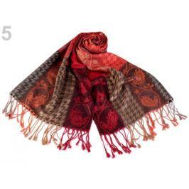 Šál typu pashmina so strapcami 70x175 cm červená 10ks Stoklasa