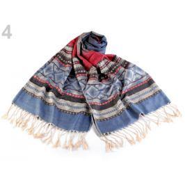 Šál typu pashmina so strapcami 70x180 cm modrofialová 1ks Stoklasa