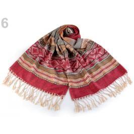 Šál typu pashmina so strapcami 70x180 cm červená 10ks Stoklasa