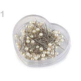 Špendlíky s plastovou hlavičkou dĺžka 40 mm srdce perlová 4krab. Stoklasa