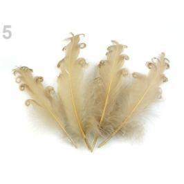 Husie perie kučeravé dĺžka 15-18 cm béžová 20ks Stoklasa
