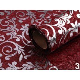 Imitácia juty šírka 24 cm ornamentami červená tm. 4.5m Stoklasa