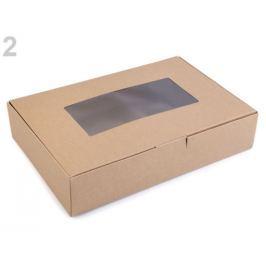 Papierová krabica s priehľadom hnedá prírodná 50ks Stoklasa