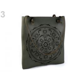 Kabelka / taška perforovaná - mandala 31x34 cm 2. akosť zelená khaki 1ks Stoklasa