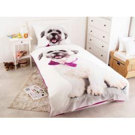 Bavlnené obliečky fototlač 3D Pes s mašľou 140x200 cm