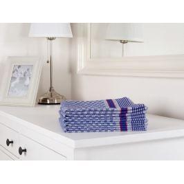 5x pracovný uterák keprový modrá kostka 50x100