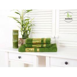 Trojdielny set dvoch uterákov a osušky Bamboo Deluxe tmavozelená