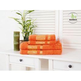 Štvordielny set dvoch osušiek a dvoch uterákov Bamboo Deluxe oranžová