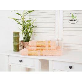 Trojdielny set dvoch uterákov a osušky Bamboo Deluxe lososová