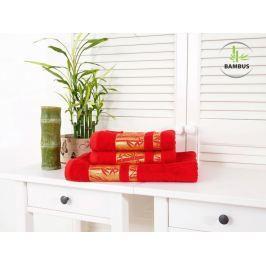 Trojdielny set dvoch uterákov a osušky Bamboo Deluxe červená