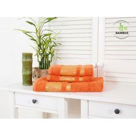 Trojdielny set dvoch uterákov a osušky Bamboo Deluxe oranžová