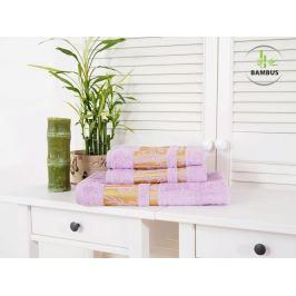 Trojdielny set dvoch uterákov a osušky Bamboo Deluxe fialová
