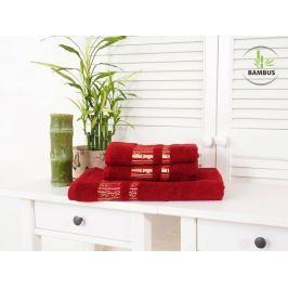 Trojdielny set dvoch uterákov a osušky Bamboo Luxus vínová