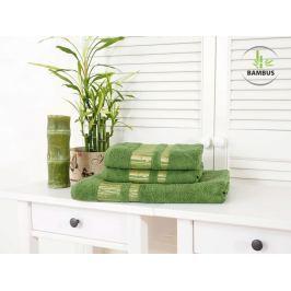 Trojdielny set dvoch uterákov a osušky Bamboo Luxus tmavozelená
