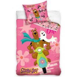 Detské bavlnené obliečky Scooby Doo ružové 140x200