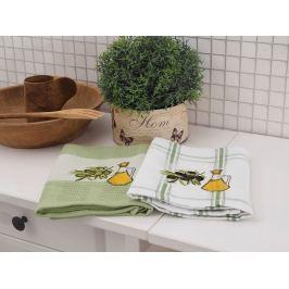 Kuchynské utierky sáčok Oliva zelené set 2 kusy 50x70