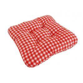 Sedák so šnúrkami prešitý Červené kocky 40x40