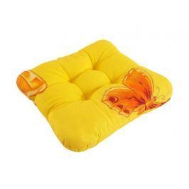 Sedák so šnúrkami prešitý Žltý s motýľom 40x40
