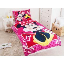 Bavlnené obliečky pre dievčatká Minnie ružová srdiečka 140x200