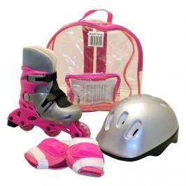 Kolieskové korčule sada korčule + prilba + chrániče, ružové