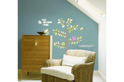 Ambiance Dekoračné samolepky- Sovy a motýle na strome