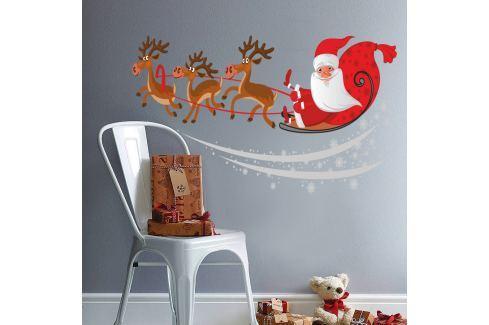 Housedecor Samolepka na stenu Santa na saniach 90x60 cm