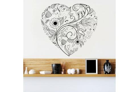Housedecor Samolepka na stenu Floral heart 90x60 cm