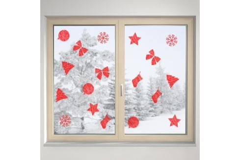 Housedecor Samolepka na sklo Červené dekorácie