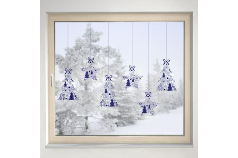 Housedecor Samolepka na sklo Hviezdy a stromčeky