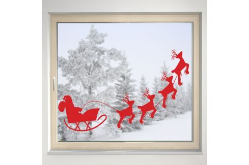 Housedecor Samolepka na sklo Santa a soby