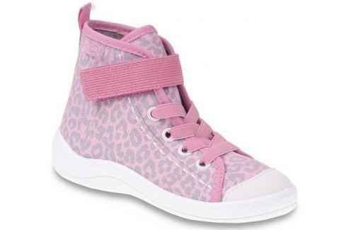 Befado Dievčenské členkové tenisky s leopardím vzorom Tim - svetlo ružové