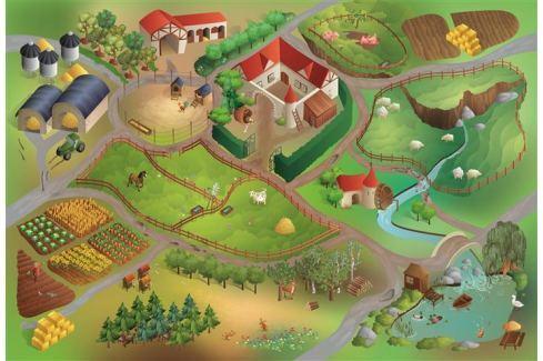 House of Kids Hracia podložka Farma 100x150 cm