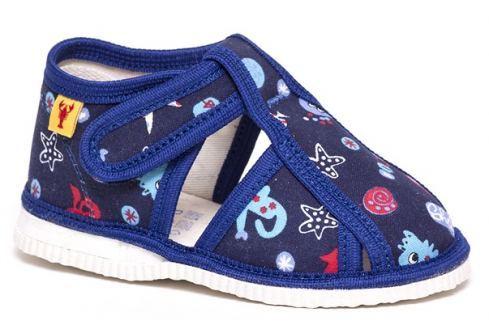 RAK Chlapčenské vzorované papučky - modré